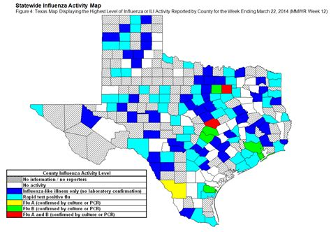 texas flu map 2013 2014 dshs flu report week 12