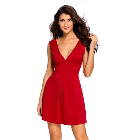 V Neck Sleeveless Mini Dress burgundy v neck sleeveless skater mini dress