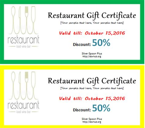 restaurant gift card template restaurant gift certificate template for word document hub