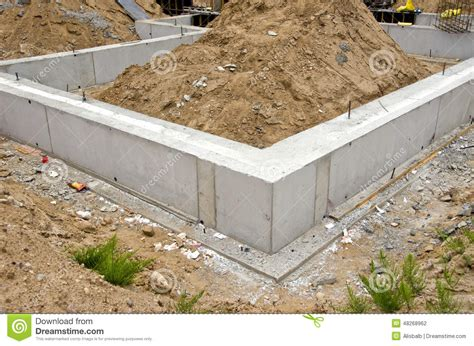 casa base concrete block foundation for house stock photo