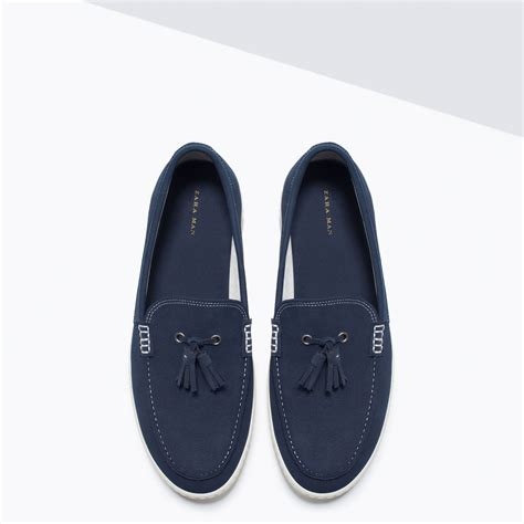 blue boat shoes zara zara deck shoes with vulcanised sole and tassel detail in