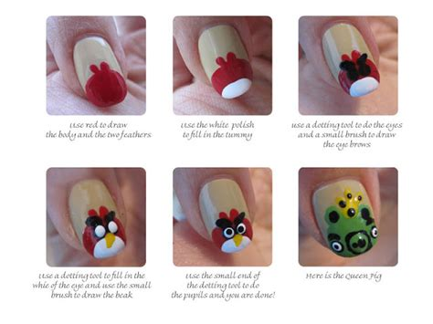 nail art bird tutorial the manicured monkey guest post joyluscious angry bird