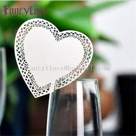 50pcs Laser Cut Paper Love Heart Name Place Cards Card Cup