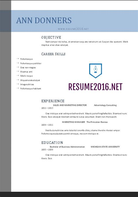 Resume Layout Exles 2016 Word Resume Templates 2016