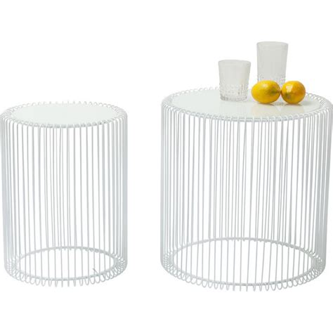 side table wire white 2 set kare design