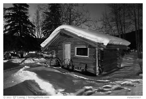 Cabins In Black by Black And White Picture Photo Snowy Log Cabin At