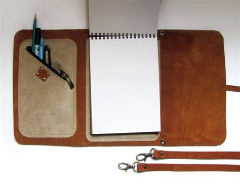 sketchbook holder leather sketchbook with pen holder and cross by