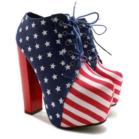 new womens american flag block heel laced concealed