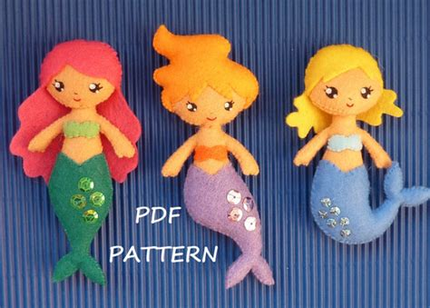 pattern for felt mermaid pdf sewing pattern to make a small mermaids in felt by