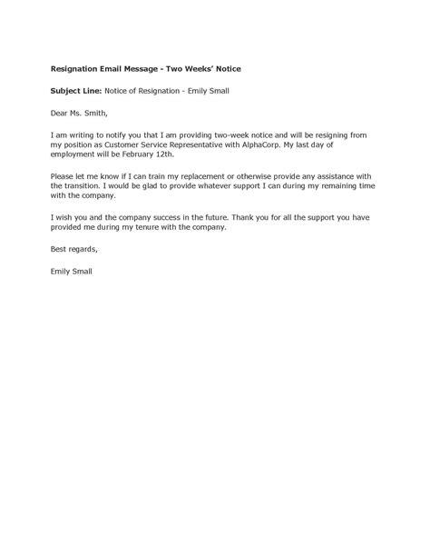resignation letter simple sle resignation letter 2