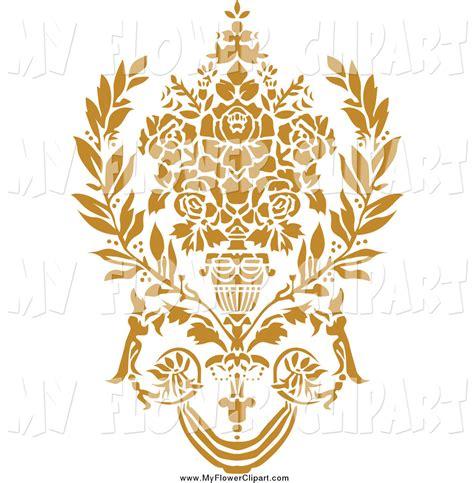 art design gold gold flowers clipart 27