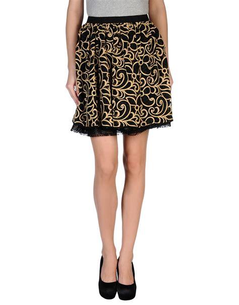 msgm knee length skirt in floral black lyst