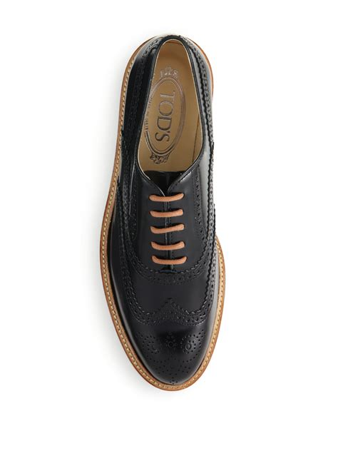 2 tone oxford shoes tod s two tone spazzolato wingtip oxford shoes in black