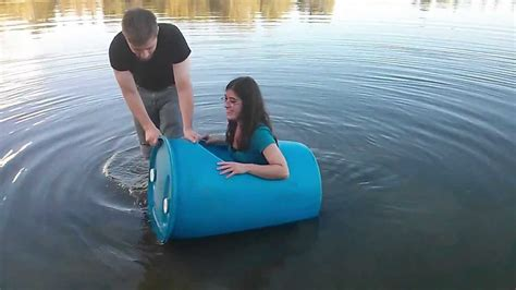 girl rides in plastic barrel youtube - Like A Boat Out Of The Blue