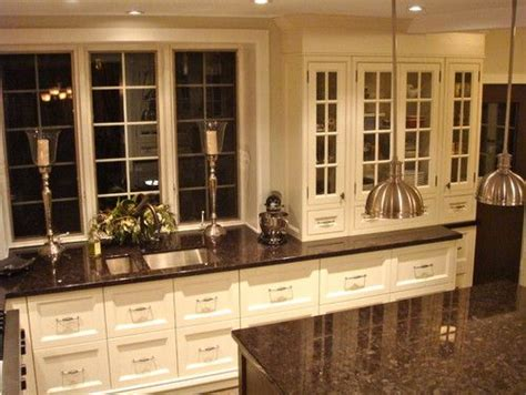 baltic brown granite with white cabinets kitchen ideas toronto glass panels and