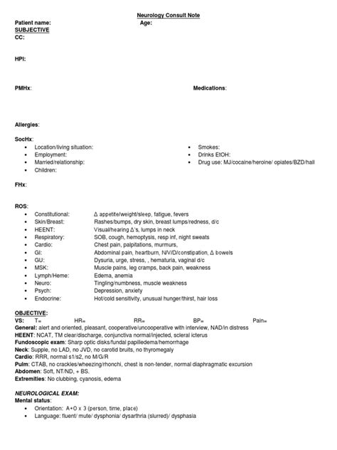 Neurological Template by Neurology Consult Note Template