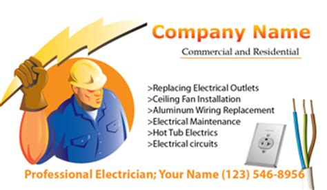 card templates electrician electricians business cards