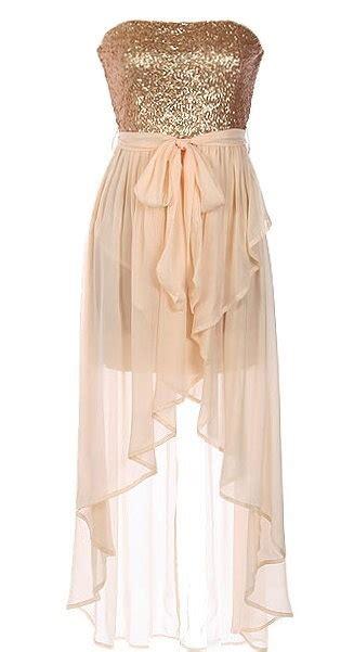 Dress Rajut No Iner silk serenade dress features a glittering gold strapless sequin bodice flowing silk chiffon