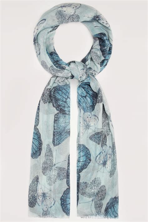 Address Finder From Name And Town Blue Butterfly Print Scarf With Sequin Stripes