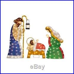 3 pc holographic lighted christmas outdoor nativity scene set 3 pc set outdoor lighted nativity display holy family yard decor new decor