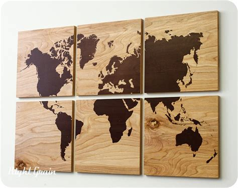 rustic home wall decor wood grain world map screen print large wall art rustic