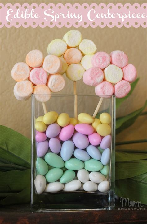 How To Make A Candy Vase Edible Craft Marshmallow Flowers Spring Centerpiece