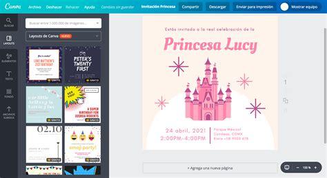 canva gratis dise 241 a invitaciones de princesas online gratis canva