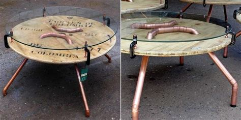spool coffee table wooden wire spool turned into industrially chic coffee table