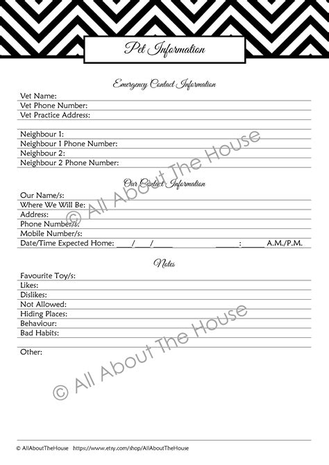 pet information important phone numbers printable allaboutthehouse printables