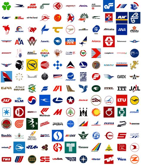 airline logos and names