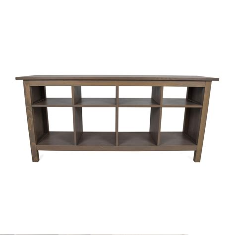 54 Off Ikea Ikea Modern Low Glass Tv Stand With Wicker