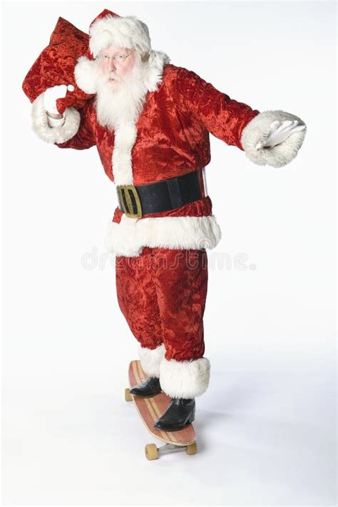 Santa Claus On Skateboard Carrying Sack Royalty Vrije Click Santa Claus Skateboard