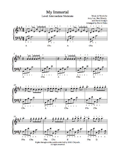 tutorial piano my immortal my immortal by evanescence piano sheet music