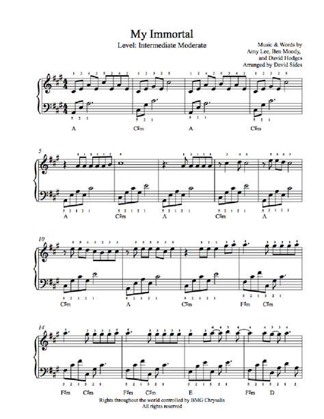 tutorial piano evanescence my immortal my immortal by evanescence piano sheet music