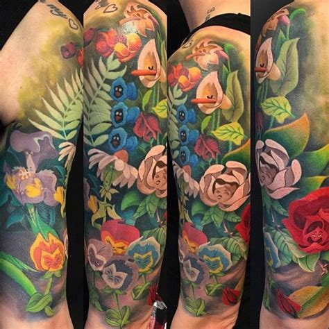 alice in wonderland tattoo sleeve in sleeve tattoos piercings