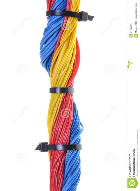 how to tie electrical wire electrical wires with cable ties royalty free stock photo