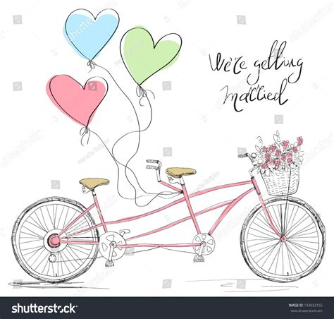 bicycle for two wedding invitations tandem bicycle wedding invitation stock vector