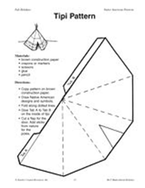 How To Make A Teepee Out Of Paper - paper teepee template tipi pattern indianen