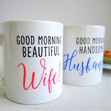 personalised husband and wife pair of mugs by the alphabet