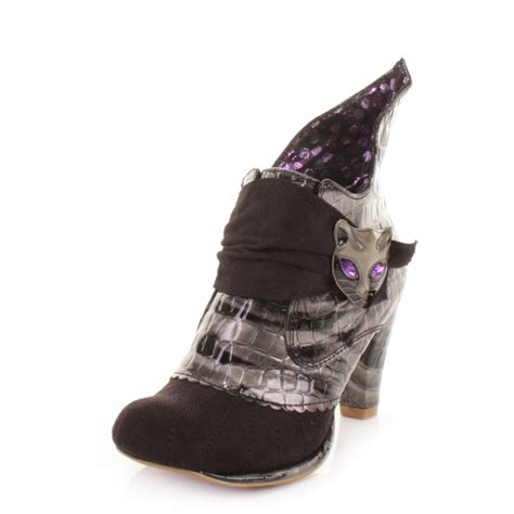 irregular choice ankle boots shoes womens black miaow cat