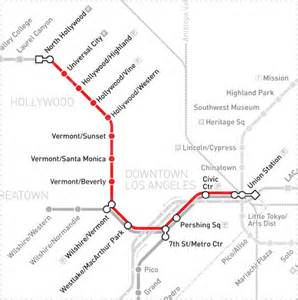 Metro Redline Map by Experiencing Los Angeles Downtown With Kids Union