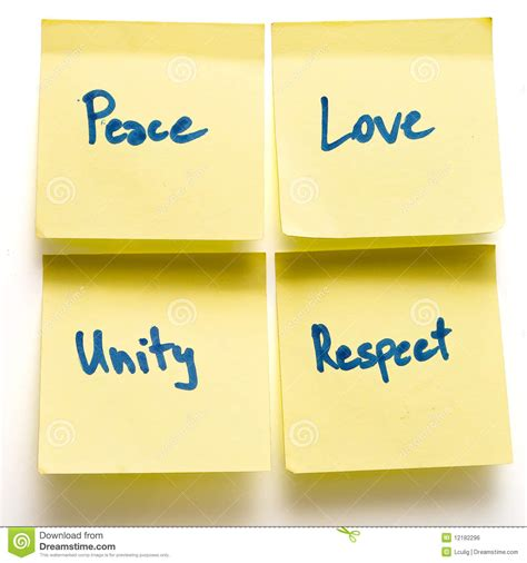 peace unity respect yellow post its on board stock