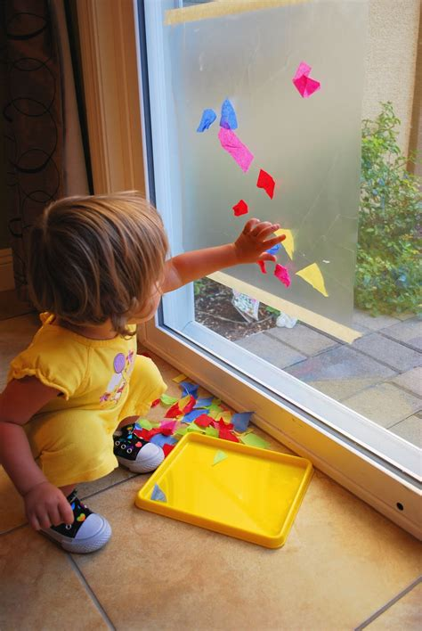 Crafts With Contact Paper - contact paper tissue paper sticky window mess for less