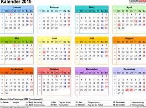Kalender 2018 Und 2019 Kalender 2019 Zum Ausdrucken In Excel 16 Vorlagen