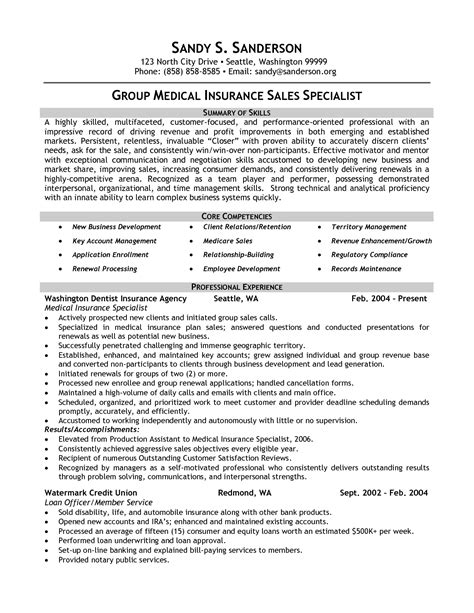 insurance specialist resume exle insurance sales specialist