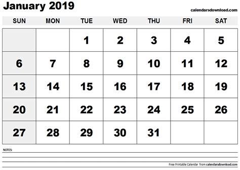 January 2019 Calendar Printable January 2019 Calendar