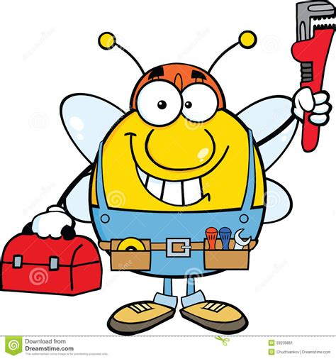 Bee Plumbing by Pudgy Bee Plumber With Wrench And Tool Box Stock Image