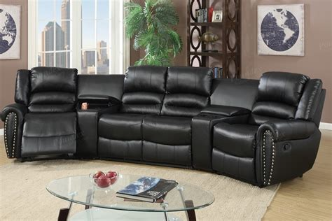 black bonded leather motion home theater sofa