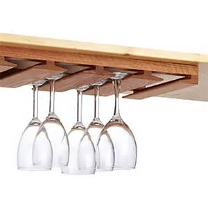 oak undercabinet stemware rack the container store