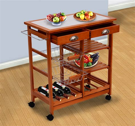 "New 30"" Kitchen Trolley Cart Wood Rolling Dining Storage"
